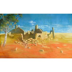 Australian Outback Desert Landscape With Ruins Painted Backdrop BD-0113