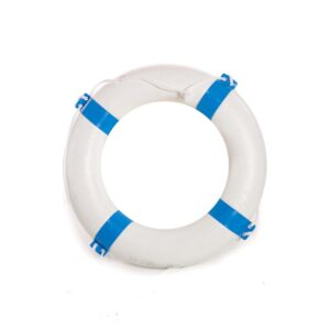 White and blue lifebuoy