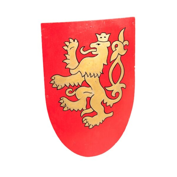 Medieval Shield with Rampant Lion Crest-0