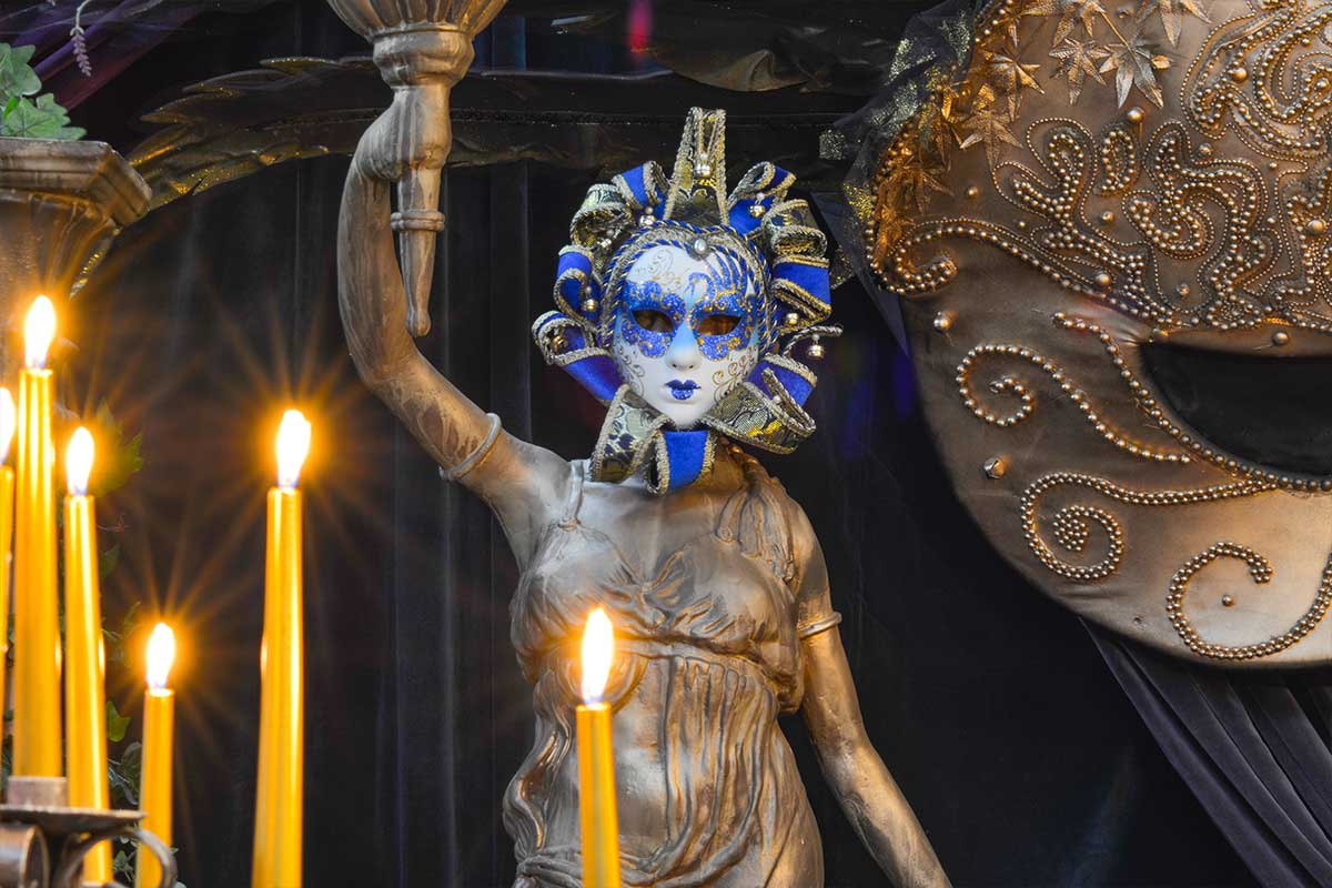 Sydney Prop Specialists Masquerade Theme Masked Lady Statue