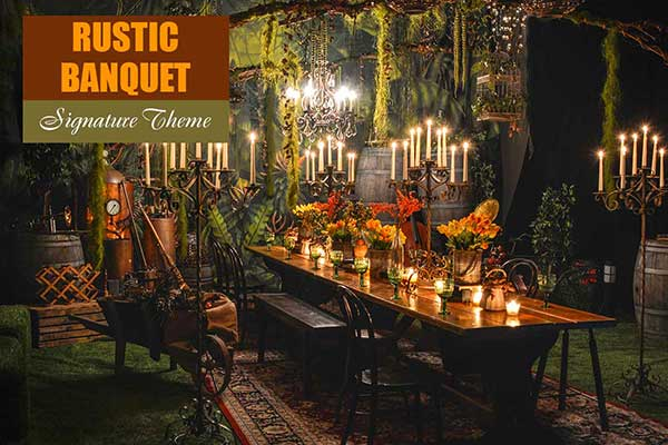 Rustic Banquet Theme - Signature Themes - Sydney Prop Specialists
